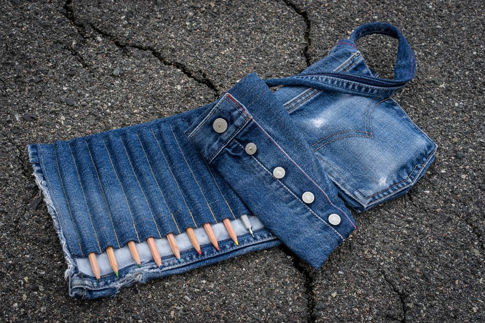 jeans pencil case and bag